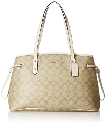 Coach Signature Drawstring Carryall Shoulder Bag F57842, Light Khaki/Chalk, Large