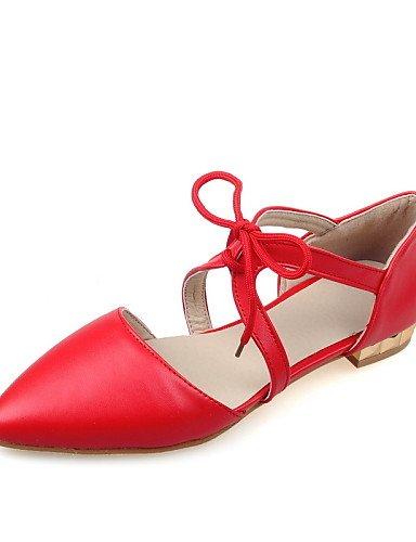 PDX/ Damenschuhe - Ballerinas - Kleid - Kunstleder - Flacher Absatz - Spitzschuh - Schwarz / Rot / Weiß red-us9.5-10 / eu41 / uk7.5-8 / cn42