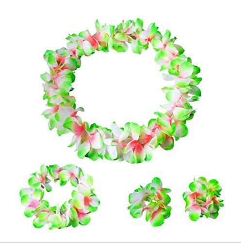 Hawaiian Luau Flower Leis Jumbo Necklace Bracelets Headband Set(Green&White)