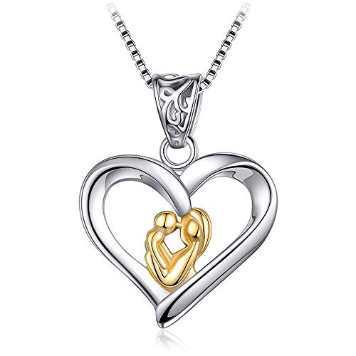 Furious Jewelry 925 Sterling Silver Mother and Child Love Heart Pendant Necklace, Box Chain 16'