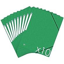 Oxford Topfile+ - Lote de 10 carpetas de cartón con 3 solapas, tamaño A4, cierre elástico, color verde