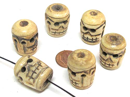 4 Beads - Ethnic Nepal Tibetan Large Thick Handmade Skull Design Carved Old Bone Beads Brown Color - HB014Ms