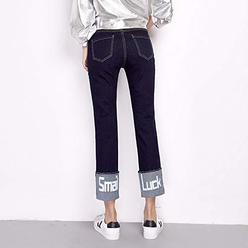 A Jeans Alta Arrivo Stretch Dritti Primavera Caviglia Vita Xl Rlwfjxh Donne Skinny Size Polsino Stampa Donn Nuovo Plus L Lettera PqgPtdwOx