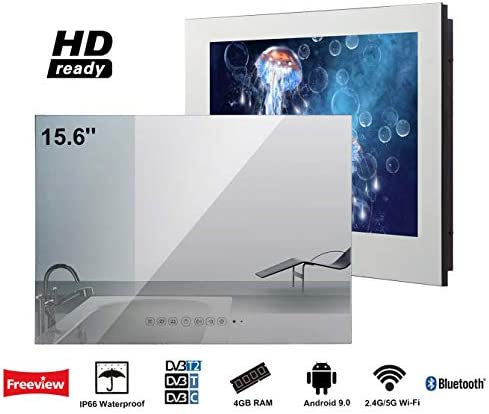 Soulaca innovativtv LED Andriod Smart TV Baño Espejo Frontal 15.6 Pulgadas Resistente al Agua IP66 con Wi-Fi Incorporado: Amazon.es: Electrónica