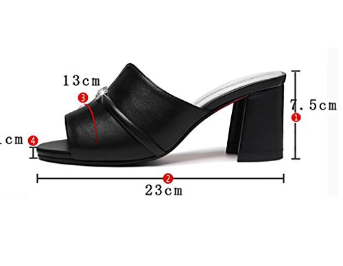 Cool slippers female summer fashion wear beach shoes rough with sandals and slippers word high heels Flat Sandals,Fashion sandals (Color : B, Size : 37) B