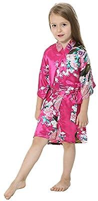JOYTTON Girls' Satin Kimono Robe For Spa Party Wedding Birthday