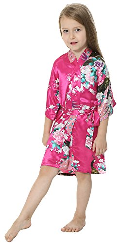 JOYTTON Girls' Satin Kimono Robe For Spa Party Wedding Birthday