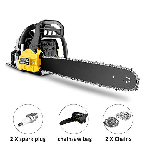 Ladyiok COOCHEER Chainsaw 62CC 20″ Powerful Gas Chainsaw 2 Stroke Handed Petrol Chain Saw Woodcutting Saw for Farm, Garden and Ranch with Tool Kit