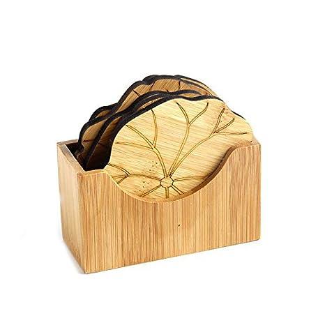 Compra WOVELOT Juego de Posavasos de Bambu Natural Mantel Individual Creativo Redondo almohadila Estera de Taza portavasos de Taza de Cafe Decoracion de ...