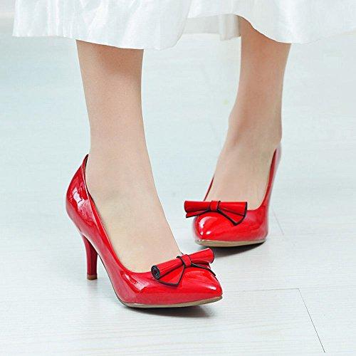 MissSaSa Damen Stiletto Spitz Schleife Leder-Pumps Rot