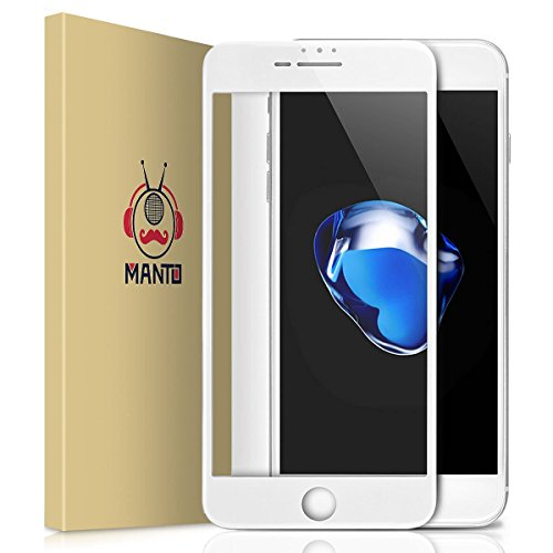 Manto iPhone 8 Plus 7 Plus 6S Plus 6 Plus Screen Protector Full Coverage Tempered Glass Film Edge to Edge Protection Compatible with iPhone 8 Plus 7 Plus 6S Plus 6 Plus 5.5 Inch, White