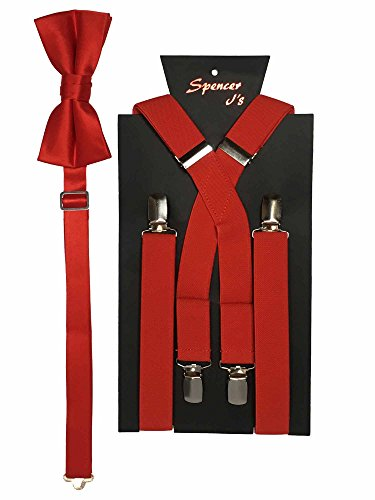 Spencer J's Men's X Back Suspenders & Bowtie Set Verity of Colors (Red)]()