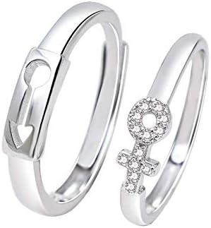 Paar Ring Silber 925 Männliches und Weibliches Symbol Zirkonia Eheringe Paarringe für Sie und Ihn