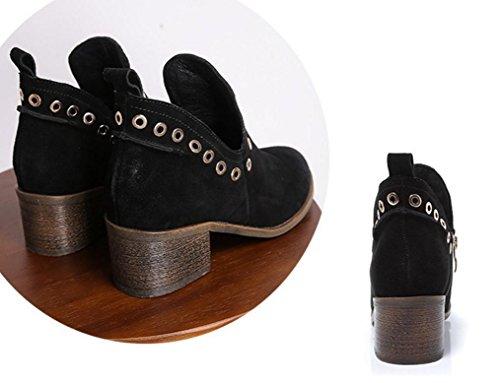 mujeres mate botas de metálica de británicas NSXZ sola las las de botas cuero de lateral Martin duras en botas las ronda ya cremallera z4nndqxTY