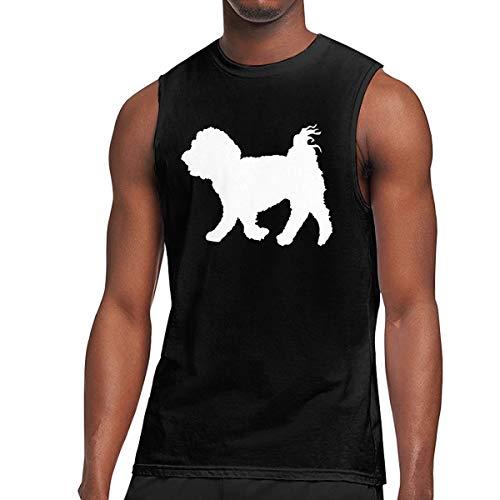 Men's Maltese Dog Silhouette Sleeveless Tee Cotton Running Sleeveless Singlet Black