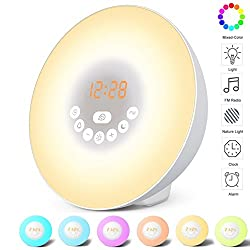 Alarm Clock Wake Up Light for Kids & Heavy Sleepers for Bedrooms,Sunrise Simulation Digital FM Radio Alarm Clocks with 6 Nature Sounds and 6 Color Switch , Touch Control(White)