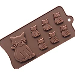Always Your Chef 7-Cavity Silicone Cute Cat Shaped Chocolate Candy Making Molds Jello Gummy Handmade Soap Diy Molds, Random Colors