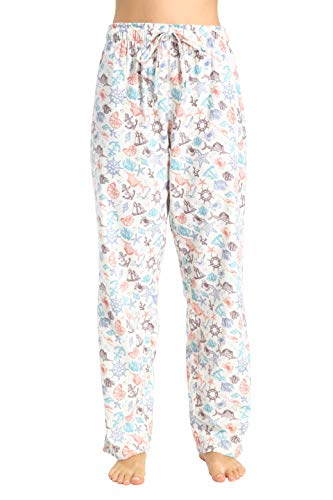 CYZ Women's 100% Cotton Super Soft Flannel Plaid Pajama/Louge Pants-Nautical-XL