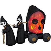 Gemmy Industries Halloween 7ft. Fire & Ice Skull Coach Scene