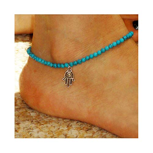 CanB Turquoise Anklets Hamsa Ankle Bracelet Hand of Fatima Beach Jewelry Fashion Foot Chain Anklet for Women Girls (Turquoise Hamsa Hand Bracelet)