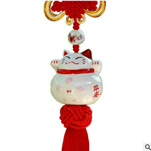 Feng Shui Lucky Cat Ceramic Pendant Charm Hanging for Wealth Fortune