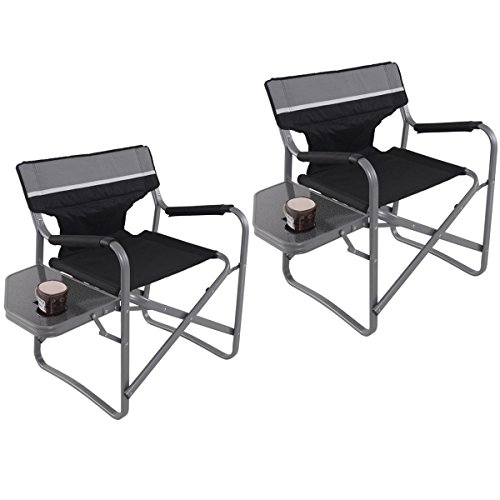 New Set Of 2 Director's Chair Folding Side Table Outdoor Camping Fishing Cup Holder - Leather Oak Folding Chair
