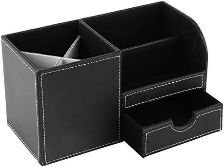 Büro-Schreibtisch Organisator Holz Leder Multifunktions Schreibtisch Schreibwaren Container Aufbewahrungsbox Stift Stifthalter Fall