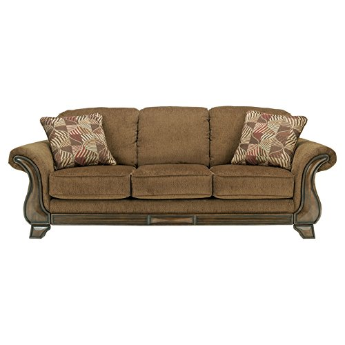 (Ashley Furniture Signature Design - Montgomery Sofa with 2 Throw Pillows - Classic Style - Mocha)