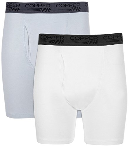 Copper Fit Men's Performance Boxer Brief, Steel/White 2 Pack, ()
