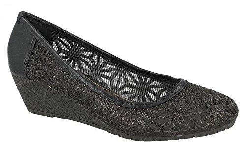 Zapatos De Holgazán De Cuero Sintético Para Mujer Spot On 5 Negro