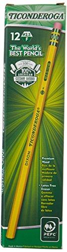 Ticonderoga Woodcase Pencil, F #2.5, Yellow Barrel, 12 per pack [Set of ()