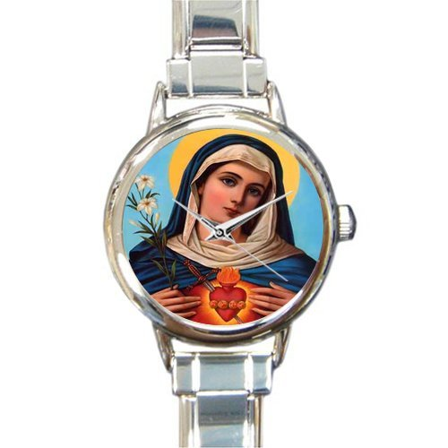 Lord Charm Italian - Christian Religious Church Gifts Virgin Mary Mother Of Lord Round Italian Charm Watch