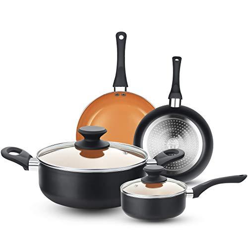 FRUITEAM 6pcs Cookware Set Ceramic Nonstick Soup Pot/Sauce Pan/Frying Pans Set, Copper Aluminum Pan with Lid, Induction…