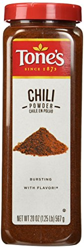 Tone's Chili Powder - 20 oz. shaker (Pepper Seasoning Garlic Tones)