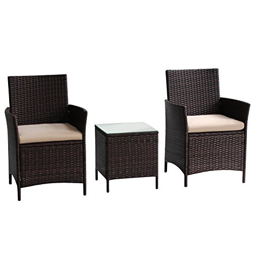Transpearl 3 Pieces Rattan Furniture Set, Indoor Outdoor Use(2 Seats 1 Table) All Weather Use Furniture Balcony Porch Furniture Dinning Table Set Conversation Set For Sale