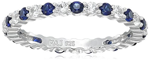 Sterling Silver Alternating Created Blue and White Sapphire September Birthstone Eternity Band Ring, Size 5 (Lab Sapphire Created Ring)