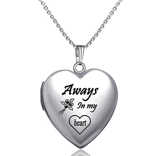 YOUFENG Love Heart Locket Necklace That Holds Pictures Engraved Always in My Heart Memories Photo Lockets (Heart locket (Mom Heart Locket Necklace)