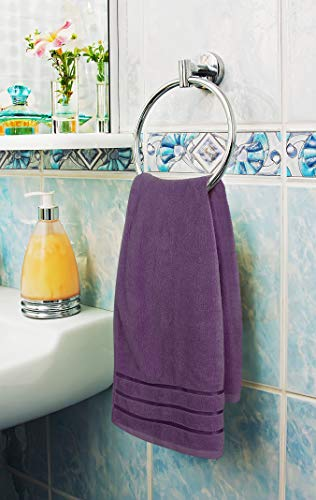 Utopia Towels Plum Towel Set 8-Piece - Viscose Stripe Towels - 600 GSM Ring Spun Cotton - Highly Absorbent Towels (Pack of 8)