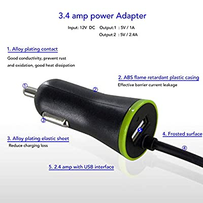 iPhone Car Charger, Xinksd 12W USB PowerDrive with 3ft Apple MFi-Certified Lightning Cable for iPhone XS/XS Max/XR/X/8/7/6/Plus, iPad Pro/Air 2/Mini, and More Black