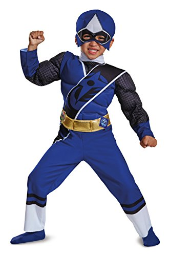 Kids Blue Ninja Costume - Power Rangers Ninja Steel Toddler Muscle Costume, Blue, Medium (3T-4T)