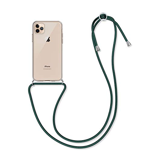 kwmobile Crossbody Case Compatible with Apple iPhone 11 Pro Max - Clear Transparent TPU Cell Phone Cover with Neck Cord Lanyard Strap - Transparent/Dark Green