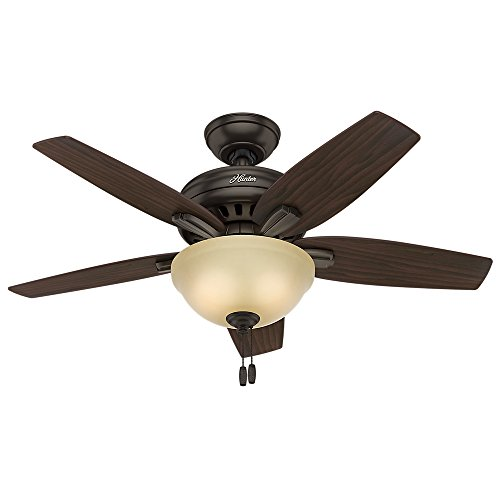 Amber Bronze Downrods (Hunter 51087 Newsome Ceiling Fan with Light, 42
