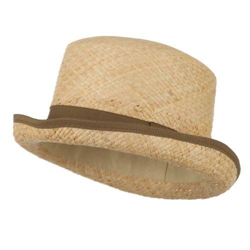 Raffia Straw Top Hat Fedora - Brown (Ml Straw Hat)