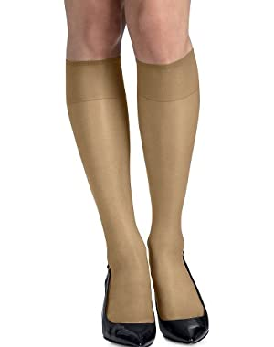 Hanes Womens Set of 3 Silk Reflections Silky Sheer Knee Highs - Best-Seller!