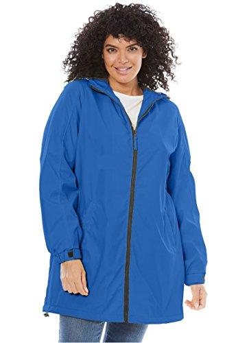Rain Slickers For Women (Woman Within Women's Plus Size Hooded Slicker Raincoat Royal Periwinkle,1X)