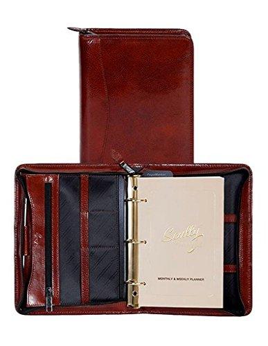 Scully Italian Leather Zip Weekly Organizer, Mahogany