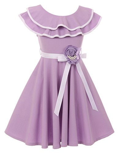 Big Girl Sleeveless Ruffle Shoulder Graduation Wedding Flower Girl Dress USA Lilac 10 JKS 2128 - Girls Lilac Flower Girl