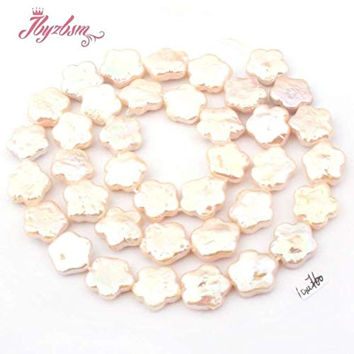 Calvas 10mm Coin Flower White Freshwater Pearl Beads Natural Stone Beads for DIY Necklace Earring Jewelry Making 14.5
