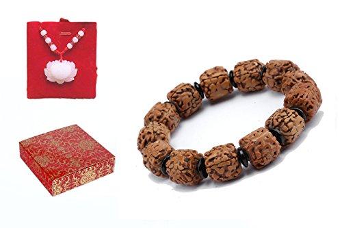 poppee The Cube Rudraksha seed Handmade Tibetan Buddhist Prayer Beads Bracelet for Men and Women with Gift Box