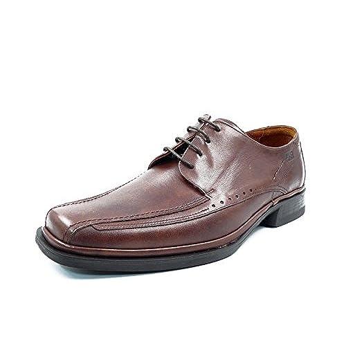 WENJHEN - Zapatos de cordones de piel vacuna para hombre, color negro, talla 41